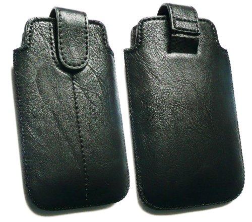 Emartbuy® Value Pack für Apple iPhone 3G/3GS schwarz PU-Leder Secured Slide in Pouch/Case/Sleeve/Holder (Größe X-Large) mit Zug-Vorsprung Mechanism + Kompatibel Kfz-Ladegerät + LCD Displayschutz - Iphone 3g Slide