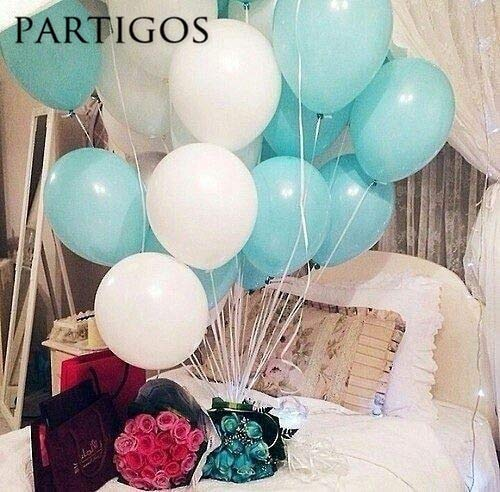 Uniqus 30 Stück 2,2 g 25,4 cm Tiffany-Blau-Weiß Latex-Luftballons Hochzeit Geburtstag Party Dekoration Helium aufblasbar Globos Matt Pink (Party Blau Dekoration Tiffany)