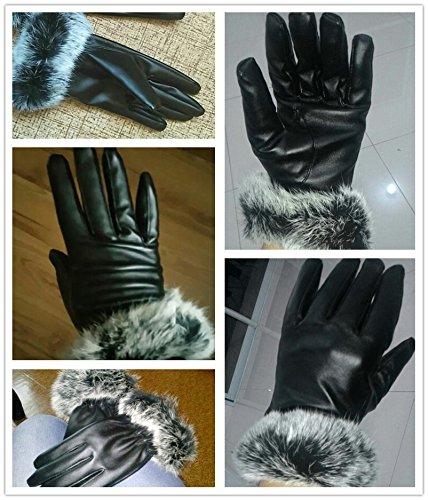 Modo Vivendi Women Fashion Lady Black PU Leather Gloves | Autumn Winter Warm Rabbit Fur Female Gloves