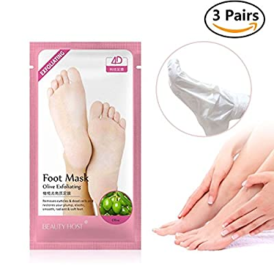 Foot Exfoliating Peel Socks, 3 Pair Foot Peeling Mask, Breett Olives Foot Callus Dead Skin Removal Foot Moisturizing Nourishing Treatment