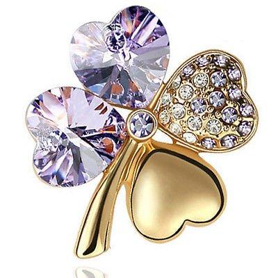 Élégant & Violet or Violet clair bijoux en forme de trèfle à 4 feuilles-Broche BR293