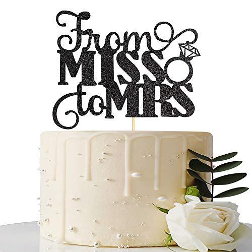 Schwarz Glitzer von Miss bis Frau Cake Topper, Bridal Dusche Tortendekoration uns/Bride to be Kuchen Dekoration (Topper Bridal Dusche Cake)