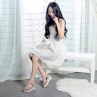 LvYuan Da donna-Sandali-Formale Casual-D'Orsay-Zeppa-Finta pelle-Rosa Rosso Bianco Beige beige