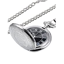 Quartz Pocket Watch for Men with Black Dial and Chain (Silver)