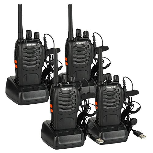 Baofeng BF-88E PMR Funkgerät Set, PMR 446 Walkie Talkie 16 Kanäle Handfunkgerät mit USB Anschluß und Headset, 4er Set