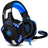 Auriculares Gaming PS4 con Microfono KINGTOP KG2000 Versión Actualizada Cascos Estéreo 3.5mm Jack, Luz LED, Volumen Control, Compatible con PS4 Nuevo Xbox One Nintendo Switch PC Ordenador y Móvil