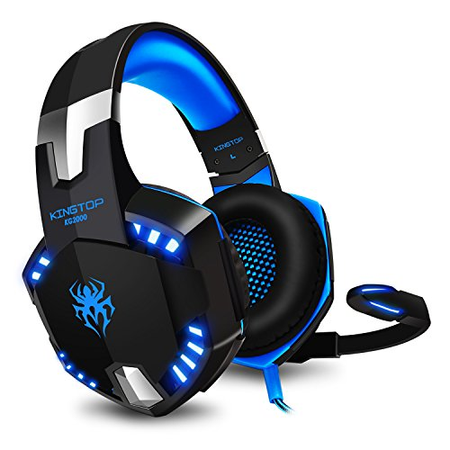 Kingtop Cuffie Gaming PS4 KG2000 Cuffie da Gaming con Microfono LED Luce Regolatore di Volume per Playstation 4 PC Xbox One S Nintendo Switch Cellulari, Blu e Nero ¡­