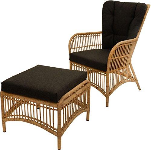 Ohrensessel / Hochlehnsessel Retro mit Hocker / Wohnzimmer- Rattan-Sessel mit hoher Rückenlehne / Hoher Korbsessel mit Eisengestell