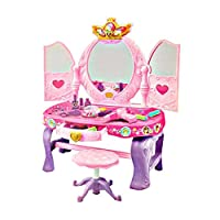 Girls Pink Vanity Glamour Mirror Makeup Dressing Table With Stool Doll Princess Stylist Dresser Pretend Play Party Hair Mirror Make Up Items (SI-TY1089)