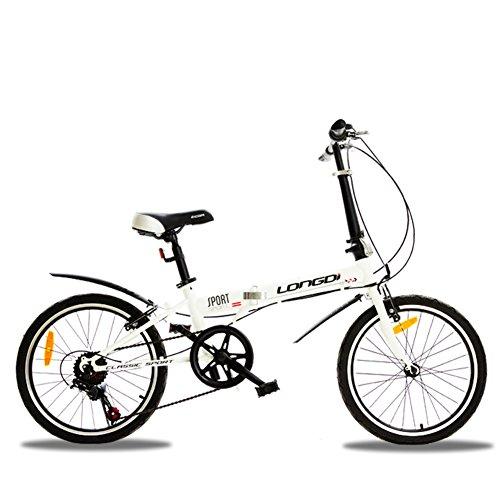 YEARLY Erwachsene klappräder, Klappräder Variabler Geschwindigkeit Student Kleines Rad Geschenk-Fahrrad Faltrad-Weiß 20inch