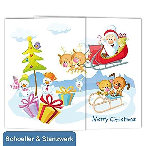"""25 Stück Kindergarten- / Schulfotomappen """"Weihnachtsmann"""" aus Graukarton für 13x18 cm Fotos - Schoeller & Stanzwerk"""