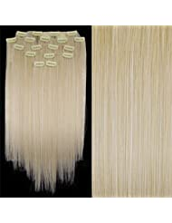 "TOOGOO(R) 8 X Extension A Clips De Cheveux Fibre 20"" #60 Blond"