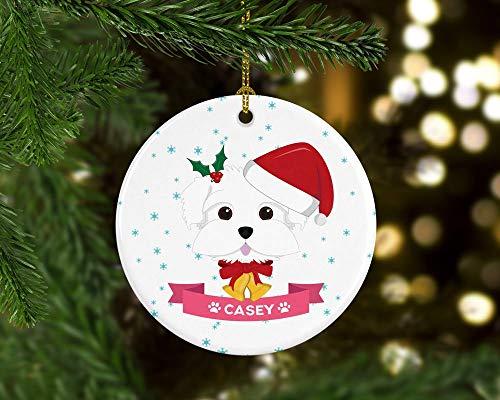 Yor242len Malteser Hund Ornament, personalisierbar -