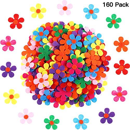 SUSU Filz-Blumen Stoff Blumen Verzierungen für DIY Basteln, (200 Stück) (Schuhe Stoff Blume)