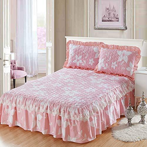 HAOLY Coton Matelasse Jupe de lit Couverture de lit,Pièce Simple Épais Poussière Couverture de lit,Housse de Protection Drap Plat-A 150x200x45cm(59x79x18inch)