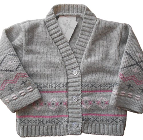3-6 months - Baby Girls Gorgeous Grey and Pink Knitted Cardigan