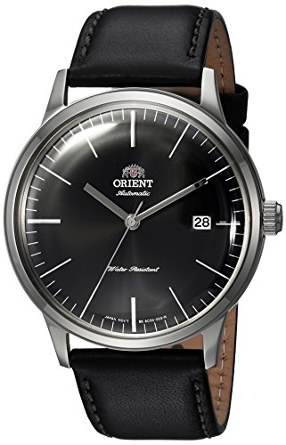 Orient Men's '2nd Gen Bambino Ver 3' Japanese Automatic Stainless Steel and Leather Dress Watch, Color:Black (Model: FAC0000DB0)