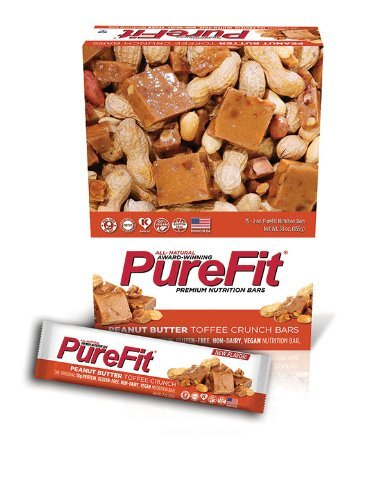 PureFit Gluten-Free Nutrition Bars with 18 grams Protein: Peanut Butter Toffee Crunch, 2 oz Bars by Pure Fit