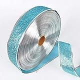 Sylvialuca 200X5 cm Schöne Metallic Glitter Bänder Für DIY Handwerk Nähen Stoff Weihnachten Party Hochzeit Liefert Geschenk Wrap - Blau