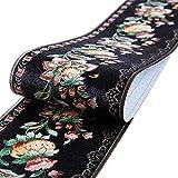 Mullsan 10 m schwarze Floral-Tapeten-Bordüre selbstklebend Wandverkleidung Küche Badezimmer Schlafzimmer Fliesen Dekor Aufkleber
