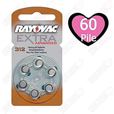 Rayovac Extra HA312, PR41, 4607 hearing aid batteria 60 pcs.