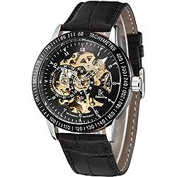Alienwork IK mechanische Automatik Armbanduhr Skelett Automatikuhr Uhr graviert schwarz Leder 98226-04