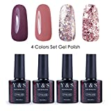 Y&S Soak Off UV LED Gel Smalto Semipermanente 4 Colori Gel Unghie Set #002, 10ml