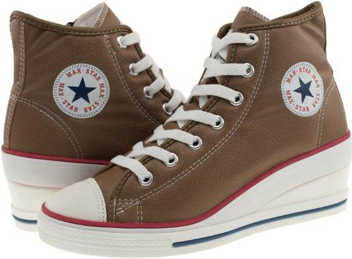 Maxstar 7 trous zippé à chaussures à talon compensé Sneakers Marron - TC-Brown