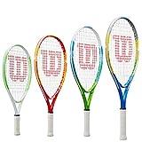 Wilson WRT20330U US OPEN 25, Raqueta de tenis para niños y jóvenes, Azul/Amarillo, Para niños con altura de 130 cm a 145 cm