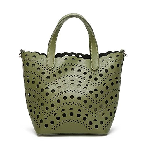 Weiblich Hohl Schultertasche Einfarbig Retro Schultertasche College Große Kapazität Messenger Bag Abnehmbar Handtasche Green