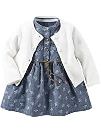 Carter's Girls' Dress Sets 121g882, Denim, New Born