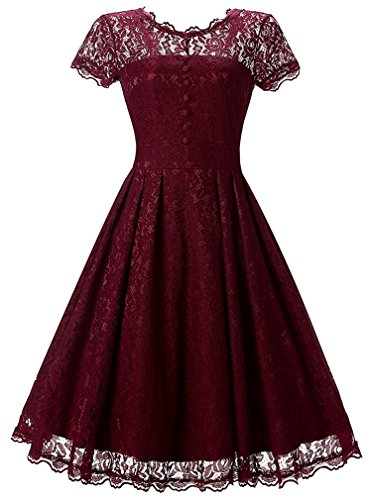 FLYCHEN Women's Vintage 1950s Lace Overlay Double Layer Knee Length Skater Swing Dresses
