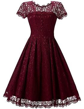 FLYCHEN Damen Elegant Kleider Vintage 1950s Spitzenkleid Cocktailkleid Knielange Swing hochzeitskleid Partykleid...