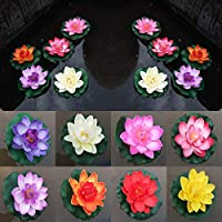 "Uteruik Floating Pond Decor Water Artificial Lily/Lotus Foam Flower, 10cm/4"", 8pcs"