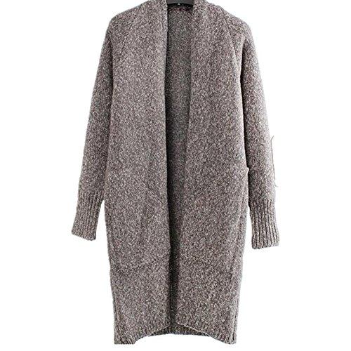 hibote Veste d'hiver Femme Cardigan Long Outwear Sweat à Manches Longues oversize Gris
