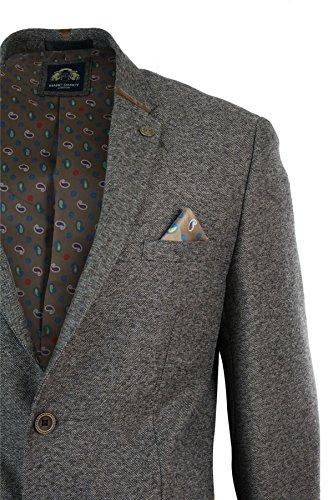 Veste homme gris noir marron en tweed à chevrons coupe cintrée slim look décontracté Marron Clair