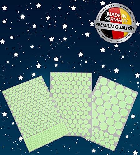 Paraboo 524 Leuchpunkte/Leuchtsterne für deinen Sternenhimmel - Made in Germany - Aufkleber selbstleuchtend, ohne Mond