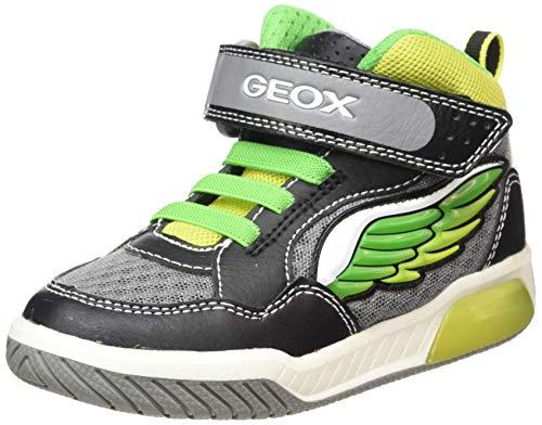 Geox j inek boy d, sneaker a collo alto bambino, nero (black/lime c0802), 32 eu