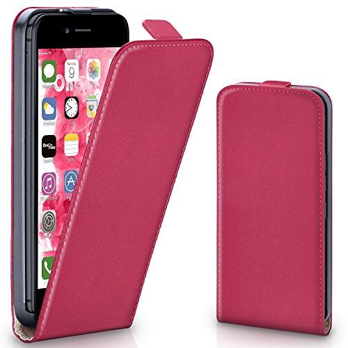 MoEx iPhone 6S Hülle Pink [OneFlow 360° Klapp-Hülle] Etui thin Handytasche Dünn Handyhülle für iPhone 6/6S Case Flip Cover Schutzhülle Kunst-Leder - Case Iphone Leder Vertikal 6