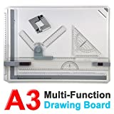Monumart Multi-Function Magnetic Clamping Bar A3 Drawing Board Set Square Graphic Drawing Board 51x37cm