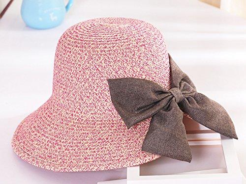 Upper-Hat summer Hat chapeau de soleil chapeau de soleil couvrant face Beach hat avec bow net Hat Rose Red