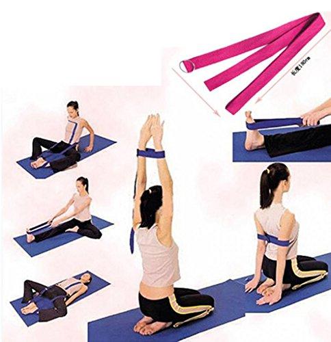 Huayang D Ring Yoga Pilates Gurtband Band Equipment Taille Leg Übung Fitness Abbildung Props (Wassermelone Rot)