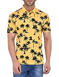 Vivid Bharti Men's Cotton Printed Yellow Polo T-shirt (Premium Quality T-Shirt)