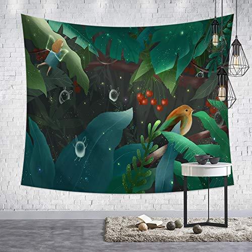 Tapestry Wall Hanging,Nordic Moderne Frische Kleine Psychedelic Hippie Niedlichen Elf Drucken Fabric Wall Tuch Für Zu Hause Wohnzimmer Sofa Hintergrund Wandteppich Strand Wand Tuch, 150 X 200 Cm -