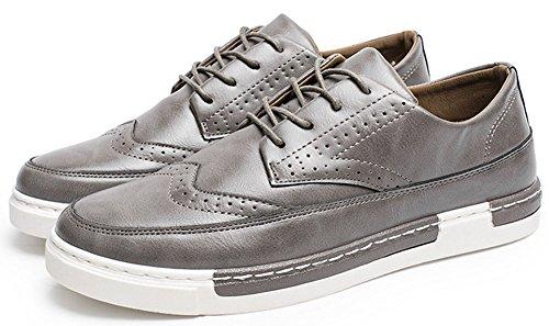 Anlarach Mocassins Pour Hommes Brogue Décontractée Lace-up Walking Flat Blucher Chaussures Marron Gris