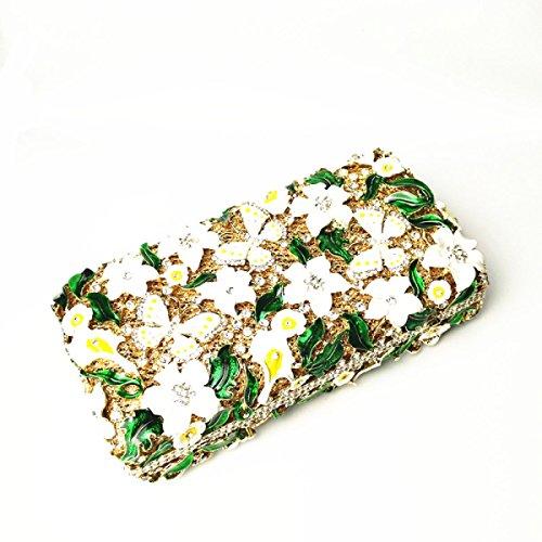 Diamanti Fiori Smalto Cena Borsa Diamanti Sacchetto Del Vestito Banchetto Borsa A Mano Green