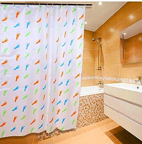 Rideaux de douche Dessin animé simple Mode coloré 180x 200cm (182,9x 198,1cm), PVC, Small feet, 180 x 200 cm (72 x 78 Inch)