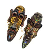 PNX India Multicolour African Hand Carved Decorative Mask For Wall Decor | Room Decor - (18.5 Inch X 8 Inch) (Mask-3)