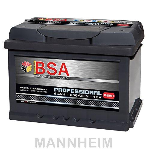 BSA Autobatterie 66Ah 12V 650A/EN ersetzt 60Ah 61Ah 62Ah 63Ah 64Ah 65Ah Extreme Startkraft