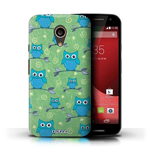 Kobalt® Imprimé Etui / Coque pour Motorola Moto G (2014) / Rouge/Blanc conception / Série Motif Hibou Bleu/Vert